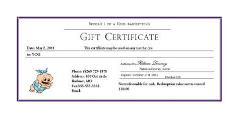 babysitting gift certificate template free costumepartyrun