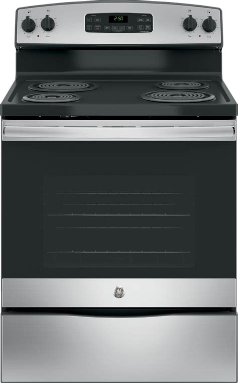 jbrkss ge  electric range  clean stainless steel