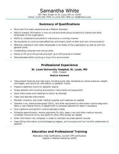 medical field medical resume medical assistant resume