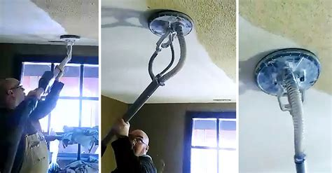 man removes ugly popcorn ceiling   seconds