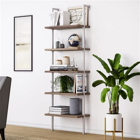 Rustic Ladder Bookcase by Nathan Theo Rustic Oak 5 Shelf Ladder Bookcase With