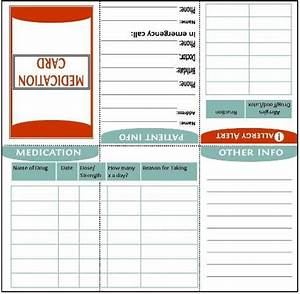 fold to wallet size medication information card With med cards template