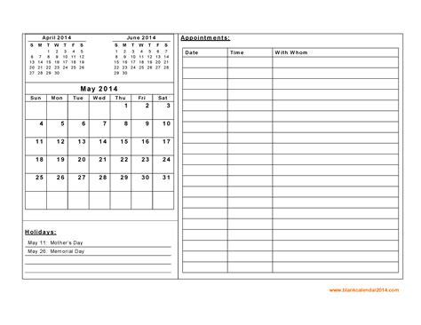 2014 Daily Calendar Template Costumepartyrun