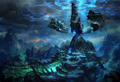 Blade And Soul Background Wallpaper Tera Online Game Mmorpg Blue Altar Argonea Mountain Sky Landscape Screenshot