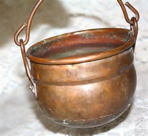 Antique Copper Pots with Handles