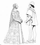 Coloring Renaissance Clothing Pages Medieval Fun Historical Mode Megacoloringpages Printable Adult Fashions Coloriage Costumes Adults 1460 Costume Renascimento Colorir Lady sketch template