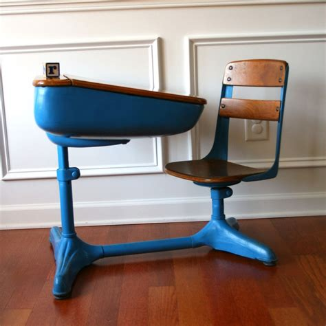 Vintage School Desk by Vintage Salmon Elementary School Desk Storage And Chair