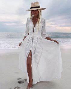 longue robe hippie blanche boutonnee devant brodure With robe boutonnée devant