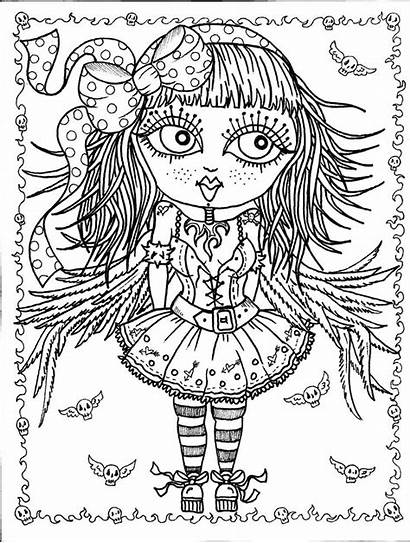 Gothic Coloring Pages Angels Digital Angel Adult