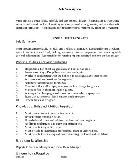 Sle Front Desk Job Description 10 Exles In Pdf Word