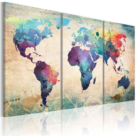 grand format impression sur toile images 3 carte du monde tableau 020113 50