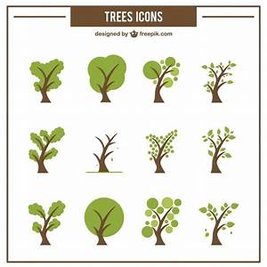 Collection of green tree icons Vector | Free Download