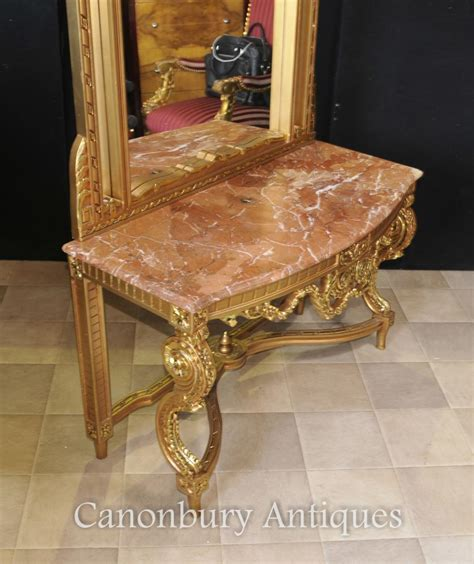 foyer table and mirror set french empire gilt console table and mirror set hall