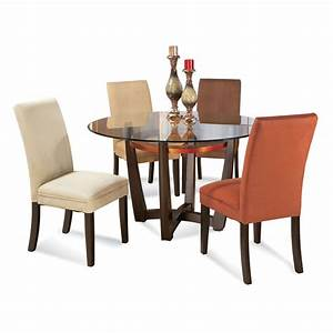 Bassett mirror elation 5 piece round glass top dining room for Round glass dining room sets
