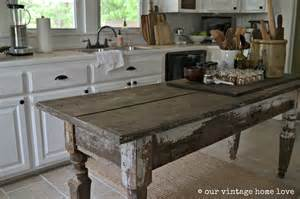 kitchen island farm table our vintage home farmhouse table