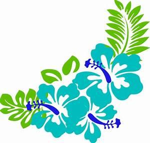 Blue Green Tropical Flowers Clip Art at Clker.com - vector ...