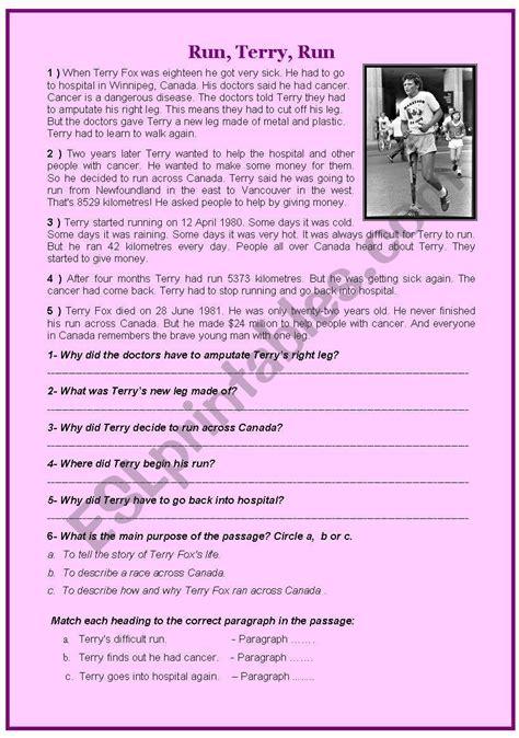 terry fox life story reading comprehension esl worksheet