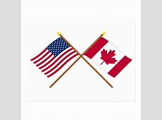 US and Canada Crossed Flags Postcard Zazzleca