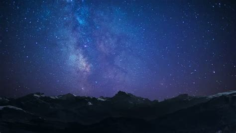 Timelapse Night Sky Stars Milky Way On Mountains