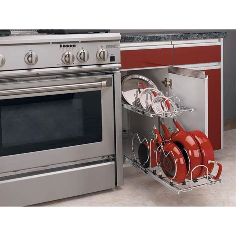 pots and pans rack cabinet pull out pot rack pan organizer 2 tier metal under cabinet