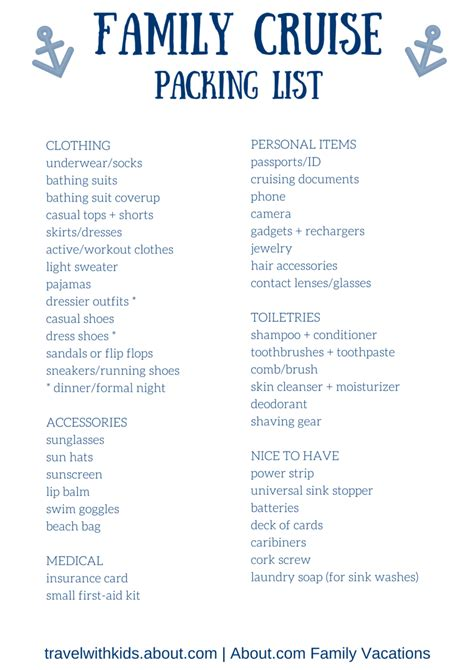 printable packing list  family cruise vacations