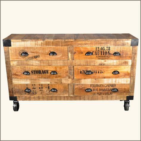 Industrial Rustic Wood 6 Drawer Bedroom Jewelry Vanity