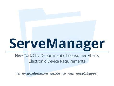 bureau of consumer affairs servemanager new york city department of consumer affairs compliance