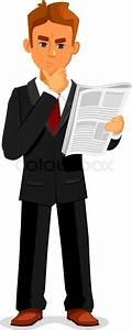 Cartoon thoughtful businessman is reading newspaper. Full ...