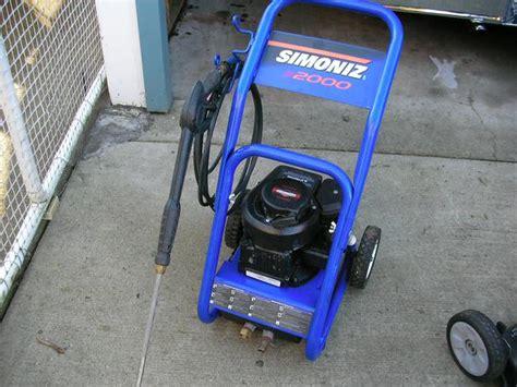 used simoniz 2000 gas powered pressure washer simoniz s2000 gas pressure washer city