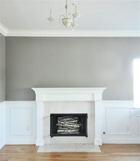 wall is painted in rockport gray by benjamin