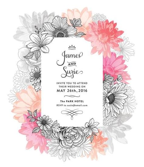 contemporary floral frame graphic design watercolor