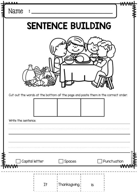 november sentence building kindergarten worksheets