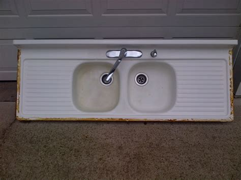 porcelain kitchen sink with drainboard vintage basin drainboard porcelain cast 7541