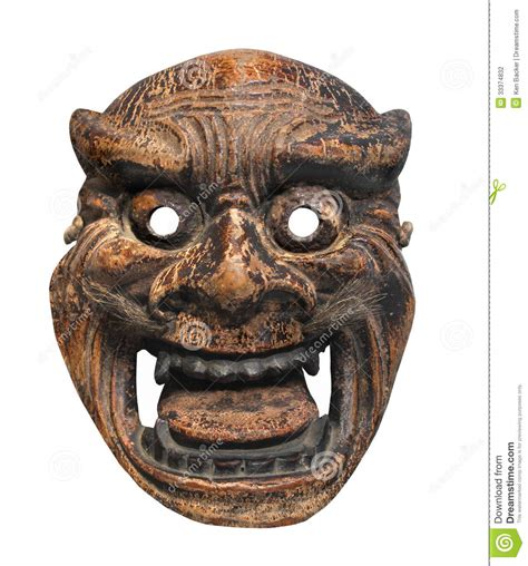 ancient japanese mask isolated stock photography image