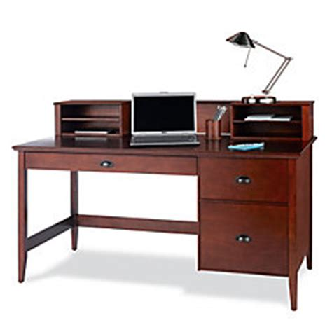 foremost hudson wood veneer desk and hutch 38 h x 60 w x 28 d classic cherry by office depot