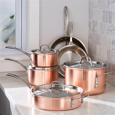 calphalon tri ply copper  piece cookware set crate  barrel