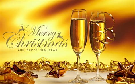 merry christmas happy  years  glasses  champagne