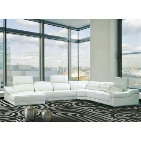 canape angle panoramique canapé d 39 angle droit panoramique cuir blanc achat vente