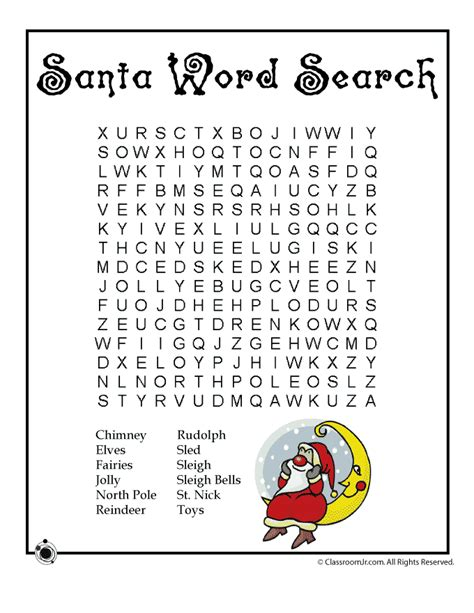 printable christmas word puzzles santa word search