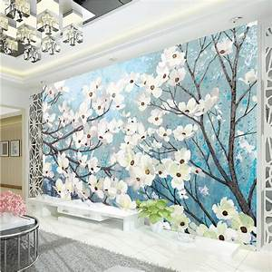 Elegant 3D Wallpaper Magnolia Wall Murals Custom oil ...