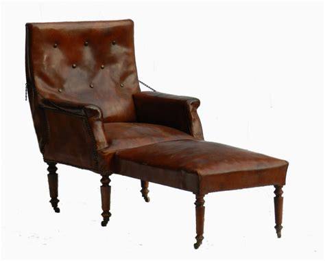 French Leather Club Chair Reclining Armchair Folding