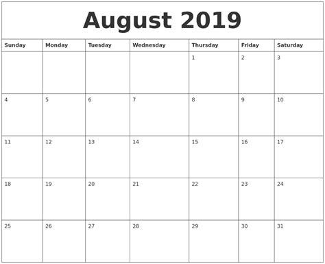 2019 Calendar Template August 2019 Free Monthly Calendar Template