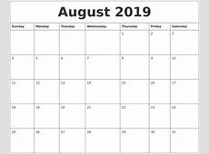 August 2019 Calendar PDF yearly printable calendar