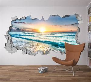 Beach view 3d wall art moonwallstickerscom for Beach wall decals