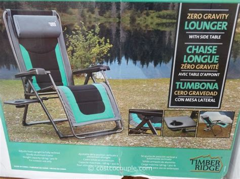 timber ridge zero gravity lounge chair costco images