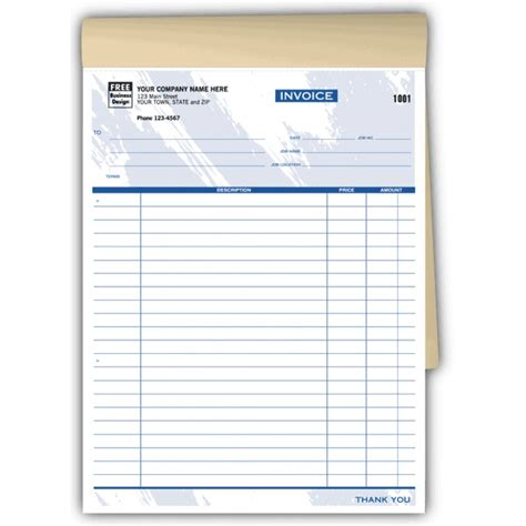 garage invoice template carbonless job invoices 6544 at print ez