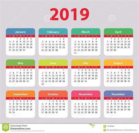 calendar week starts sunday basic colorful stock vector