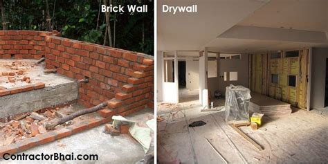 drywall  conventional brick wall contractorbhai