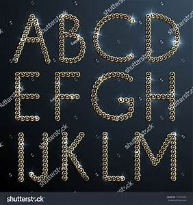 shiny diamond gold alphabet letters eps10 stock vector With shiny diamond alphabet letters
