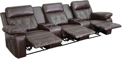 reel comfort series 3 seat reclining brown leather theater